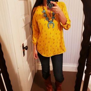 Boho Western Cactus Mustard Yellow Blouse Shirt